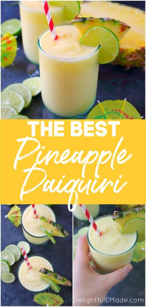 Want to know how to make a daiquiri? This incredible Pineapple Daiquiri recipe is made with fresh pineapple, limes and coconut rum. Perfect for sipping poolside or blending for all of your friends at your next summer cookout!