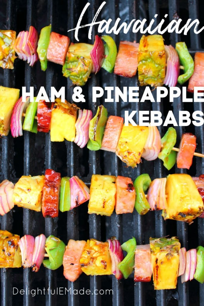 Get your cookout game on point with these incredible Hawaiian Ham and Pineapple Kabobs! Made with savory, delicious ham, fresh pineapple and veggies, these simple ham and pineapple skewers will be your new favorite summer grilling recipe!