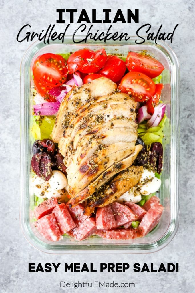 Could you use a new meal prep salad that's healthy AND delicious? This Italian Chicken Salad is the perfect mix of Italian flavors and healthy ingredients to keep you full for hours. If you need lunch salad ideas, you'll love this one!