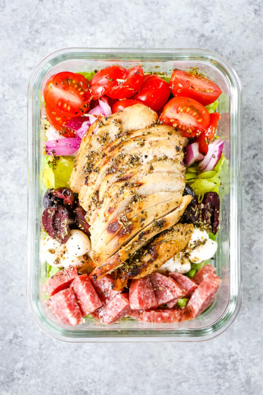 Italian chicken salad meal prep salad