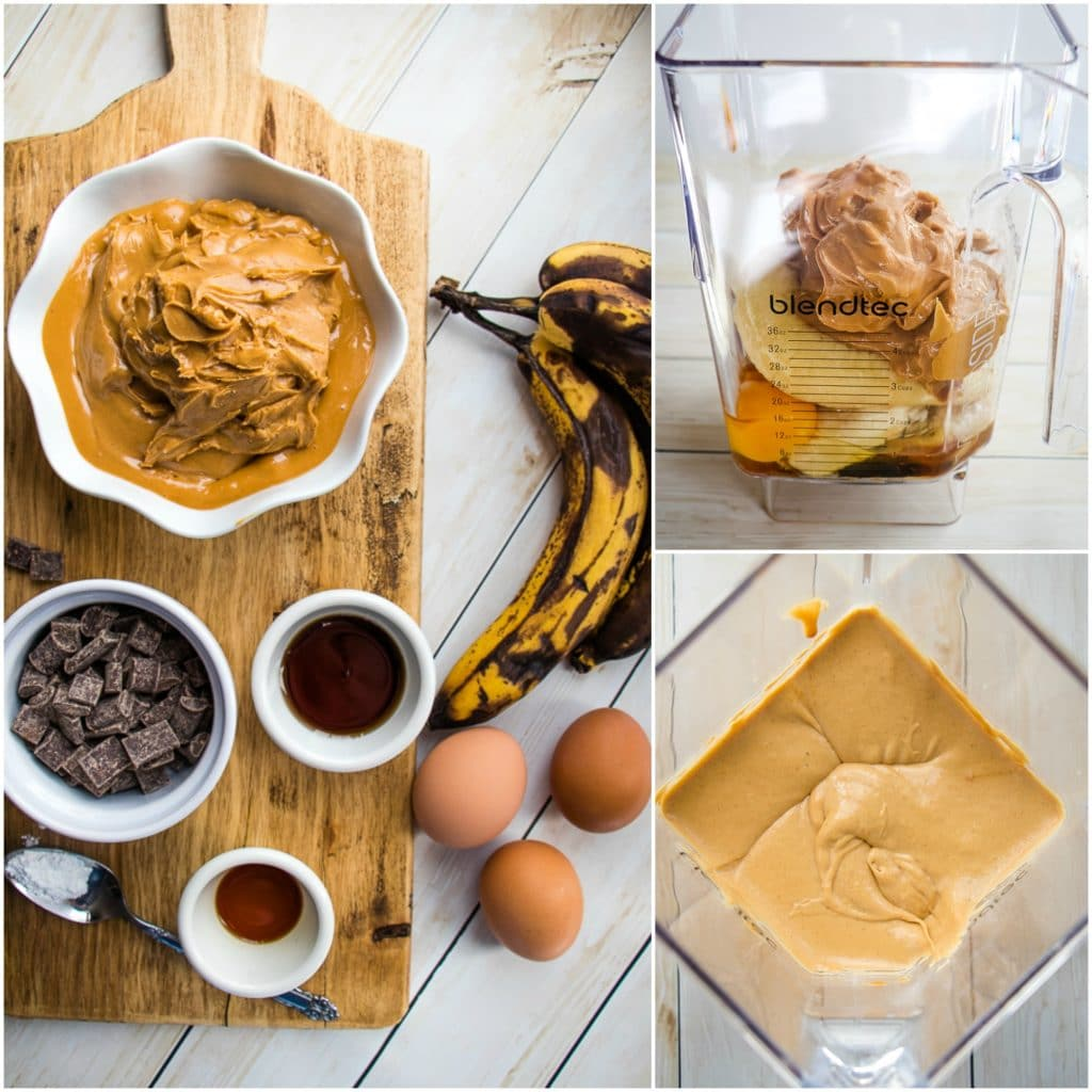These Peanut Butter Banana Muffins have no flour, no oil and no refined sugar, making them the ultimate healthy snack. These flourless banana muffins come together quickly in the blender for a silky, souffle like consistency that's amazing!