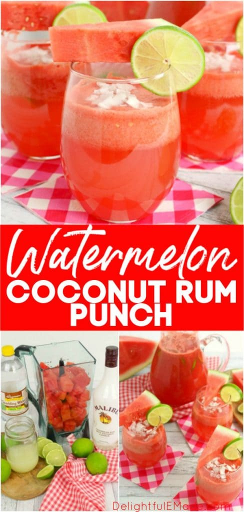 This amazing watermelon coconut rum punch is the quintessential summer cocktail!  Made with fresh watermelon and coconut rum, this simple rum punch cocktail comes together in moments.  Perfect for sipping poolside or serving at your next summer soiree!