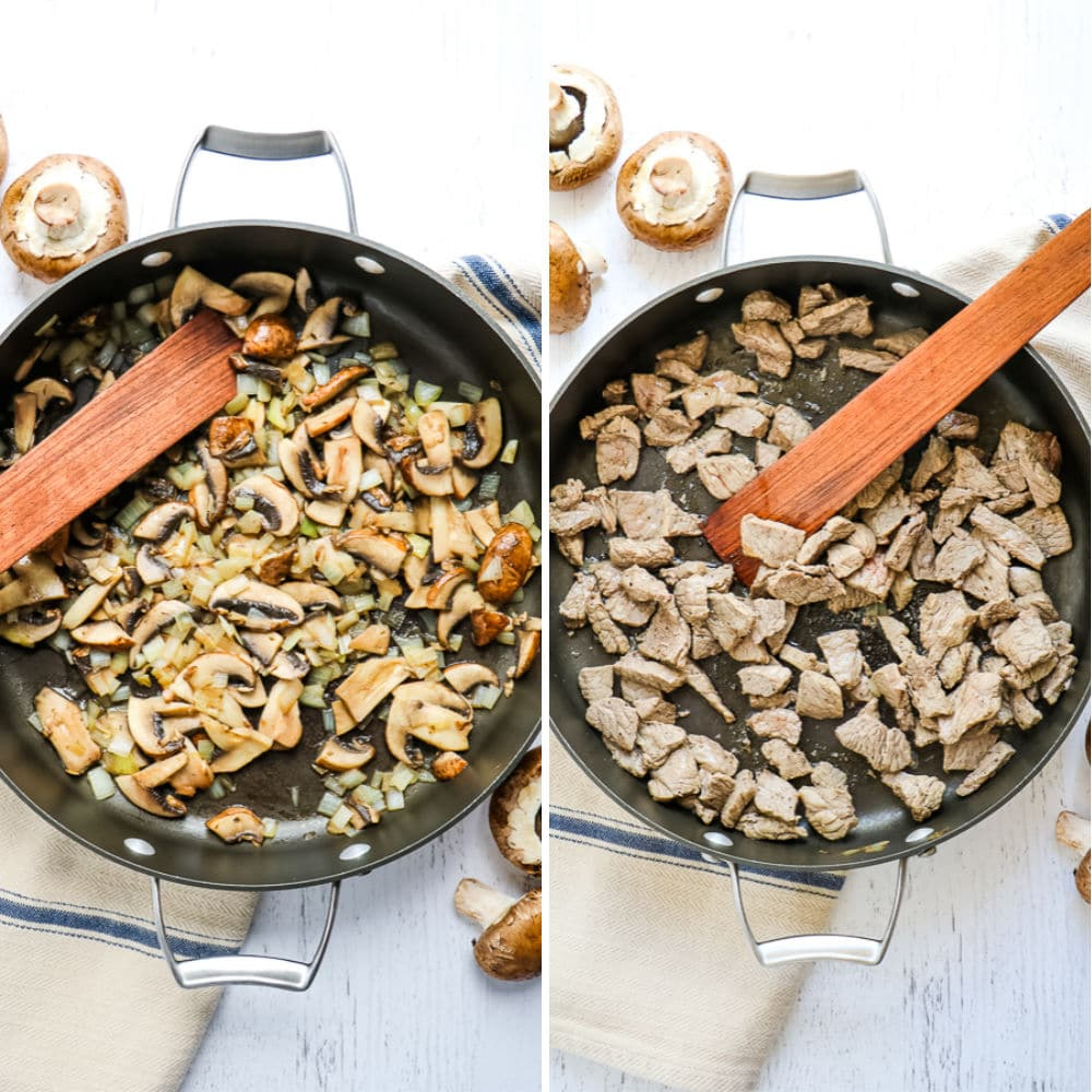 Step 1 to making classic beef stroganoff; side by side photo of sauteed mushrooms and onions in a skillet, and skillet with sauteed sirloin beef strips.