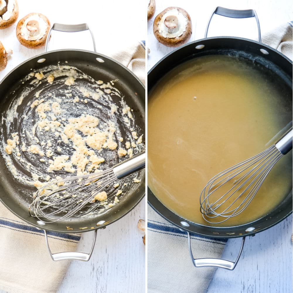 Step 2 side-by-side photo to making classic beef stroganoff, skillet with roux and skillet with beef broth sauce.
