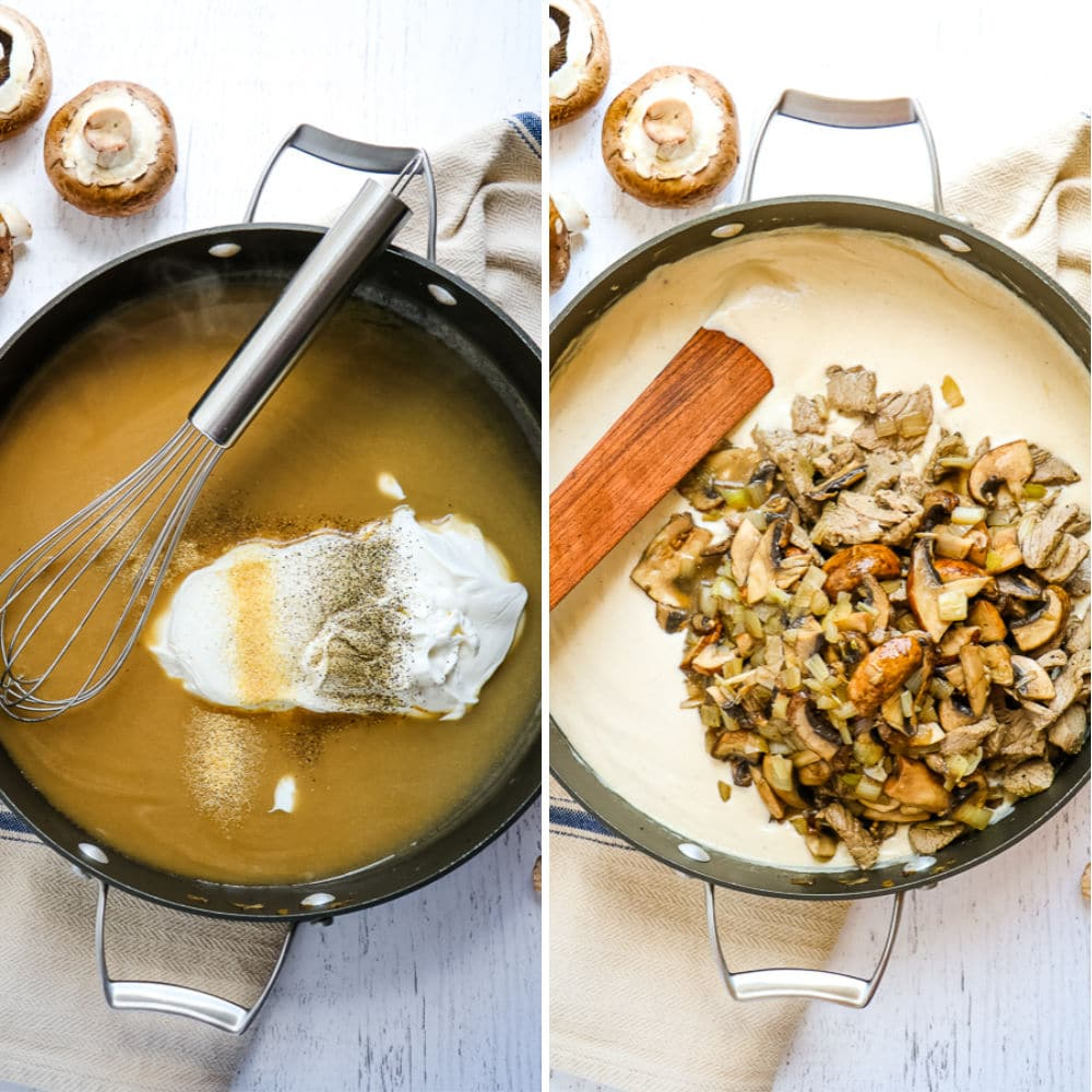 Step 3 to making classic beef stroganoff. Skillet with beef broth sauce, sour cream and spices, second photo has sour cream sauce with beef, mushrooms and onions.