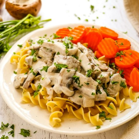 Classic beef stroganoff on a plate with egg noodles, sliced carrots and topped with curly parsley.