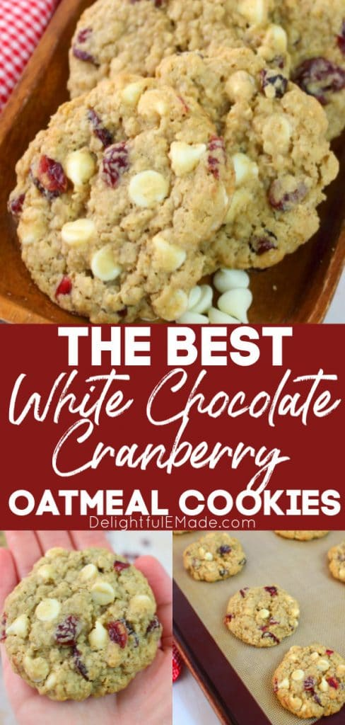 White chocolate cranberry oatmeal cookies on platter and cookie sheet with extra cranberries and white chocolate chips.