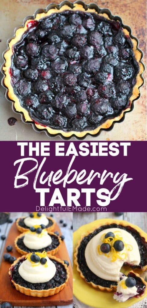 Single serving blueberry tarts, topped with lemon mascarpone cream and garnished with lemon zest and fresh blueberries.