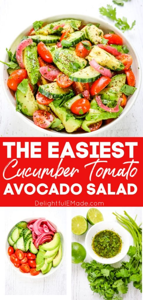 Bowl of cucumber tomato avocado salad with bowl of ingredients and bowl of cilantro lime dressing.