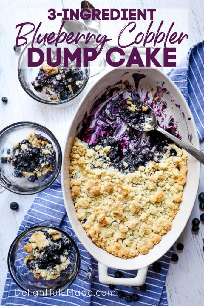 Blueberry dump cake in white oval baking dish with three individual bowls of cobbler.