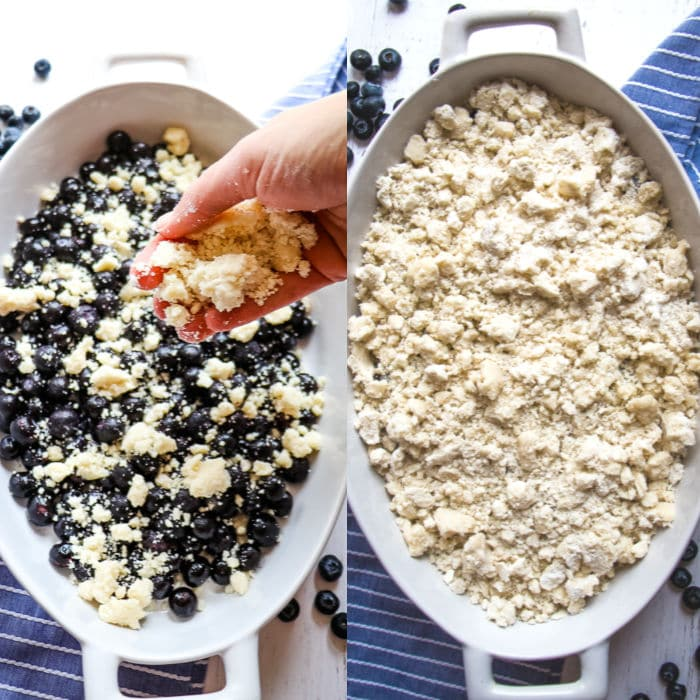 Blueberries in oval baking dish with cake mix crumbles, and photo of completed blueberry cake mix cobbler.