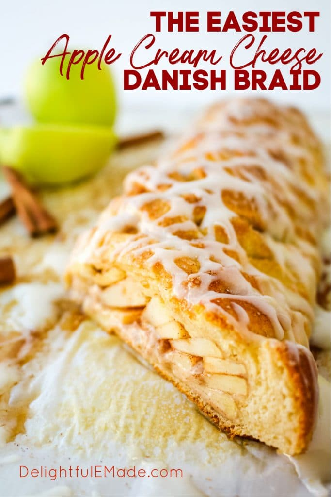 Sliced Apple Danish Braid with cream cheese glaze drizzled on top.