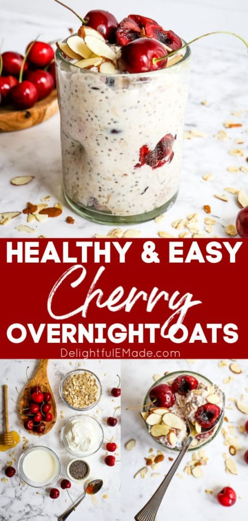 Healthy and Easy Cherry Overnight Oats: photo collage of jar of oats, ingredients and spoonful of oats.