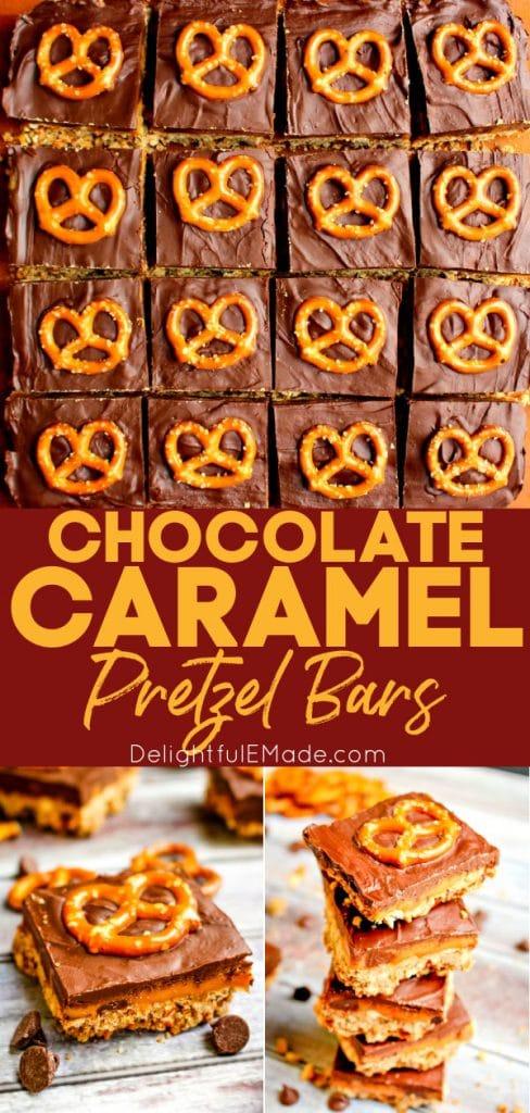 Chocolate Caramel Pretzel Squares topped with pretzel twists and garnished with chocolate chips.