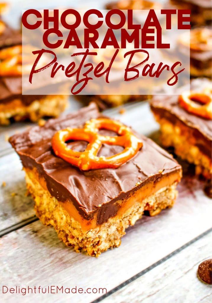 Chocolate Caramel Pretzel Bars cut into squares and topped with pretzel twists.