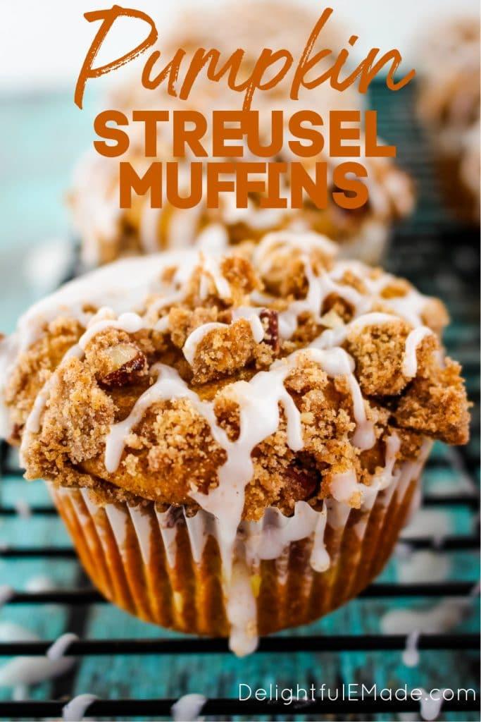 Pumpkin Apple Streusel Muffins with a vanilla glaze.