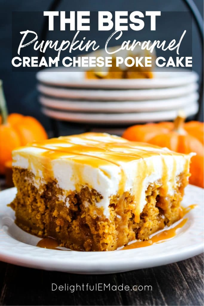 Square slice of cake on plate, pumpkin caramel cream cheese poke cake, drizzled with caramel sauce.