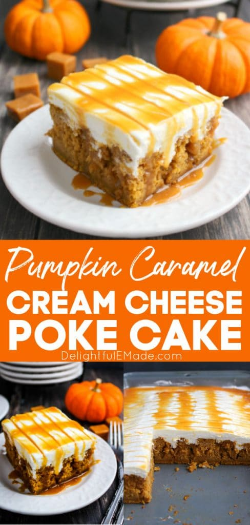 The BEST Pumpkin Caramel Cream Cheese Poke Cake. Cake square on a plate, drizzled with caramel sauce.