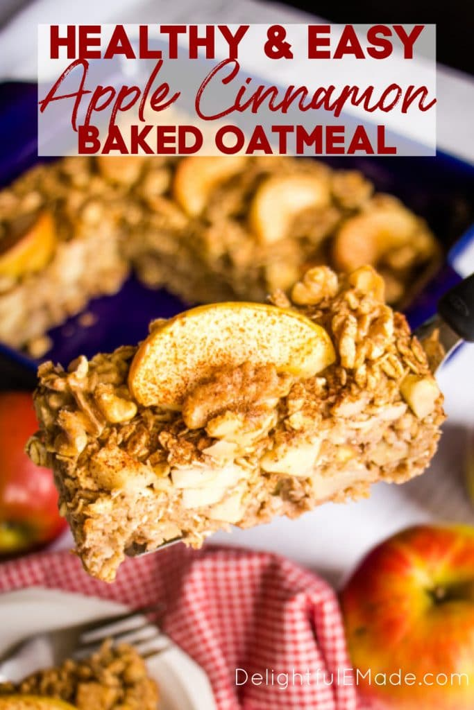 Baking dish with apple cinnamon baked oatmeal topped with apple slices, walnuts and sprinkle of cinnamon.