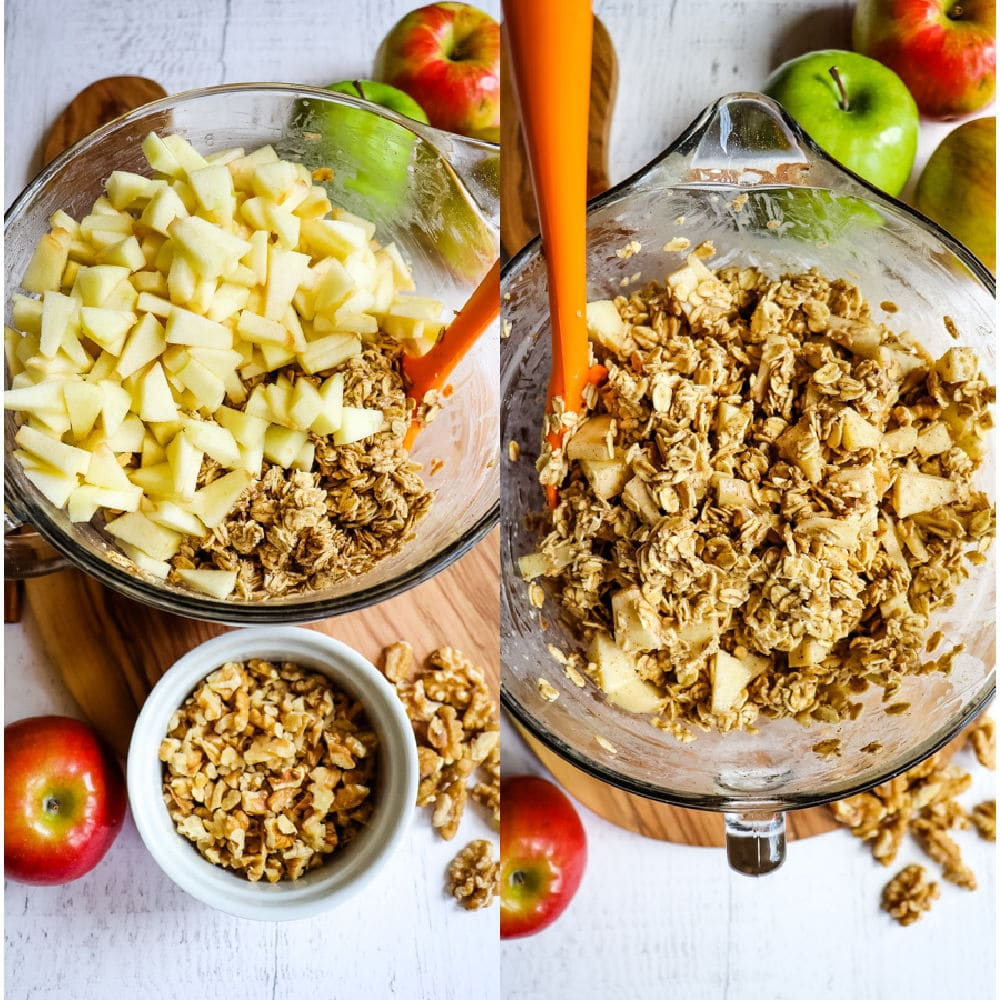Mixing bowl with apple cinnamon oatmeal ingredients, diced apples, and chopped walnuts.