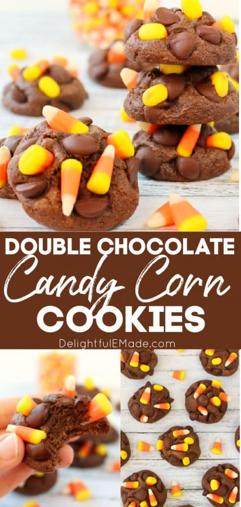Double chocolate candy corn cookies, stacked, and laying on white flat surface. Garnished with candy corn.