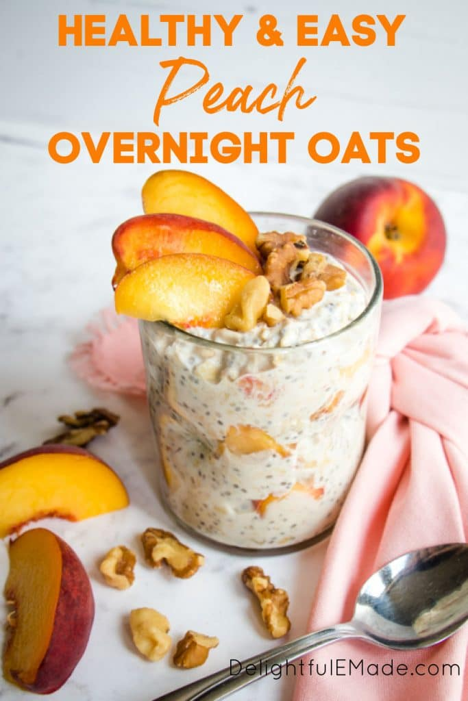Cup of peach overnight oats, garnished with walnuts and peach slices.