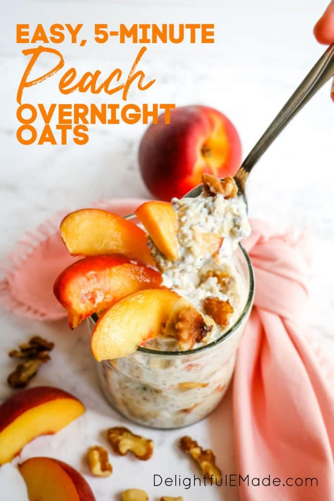 Easy healthy peach overnight oats, with spoonful of oats coming out of the top.