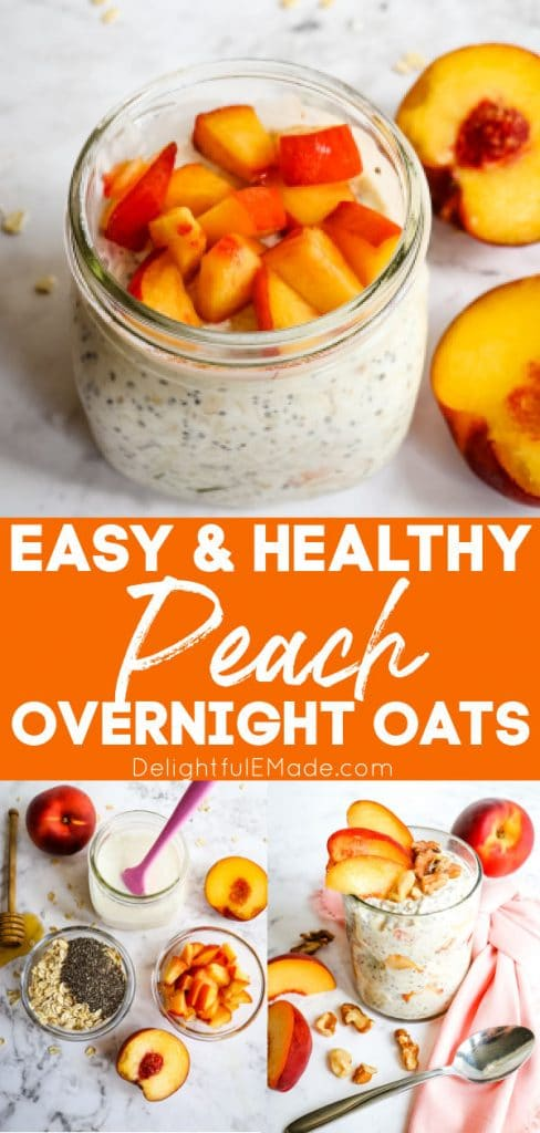Easy, healthy peach overnight oats, garnished with peach chunks in mason jar.