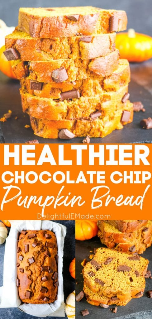 Slices of pumpkin bread with chocolate chips stacked, loaf of pumpkin bread in loaf pan.