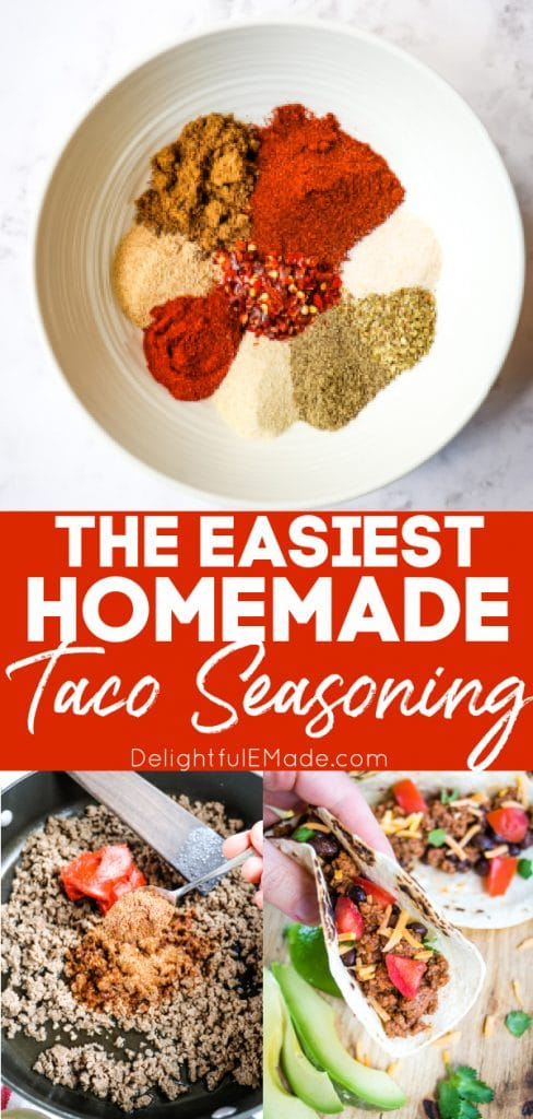 Homemade taco seasoning - bowl of seasoning and spices mixed in to ground beef.