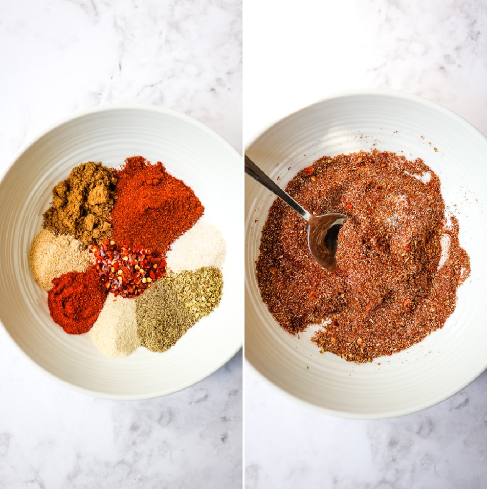 homemade taco seasoning - spices in a bowl stirred together