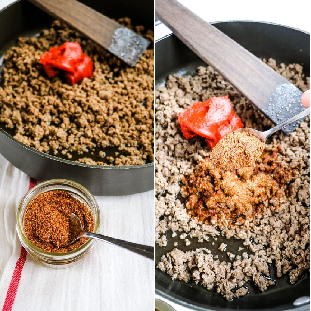 Homemade taco seasoning - sprinkled over the top of ground beef.