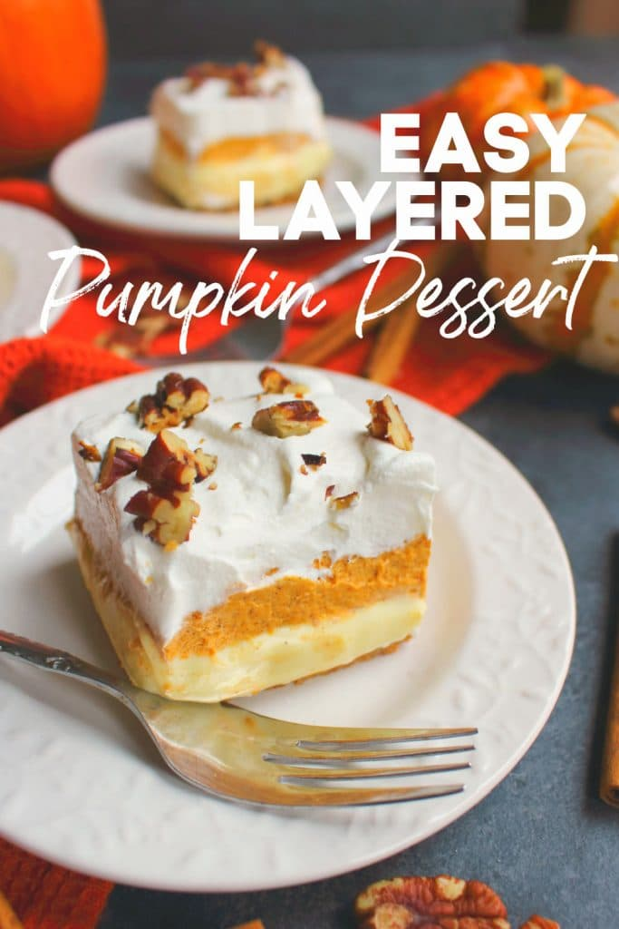 Layered pumpkin dessert, square slices on white plates, topped with chopped pecans.