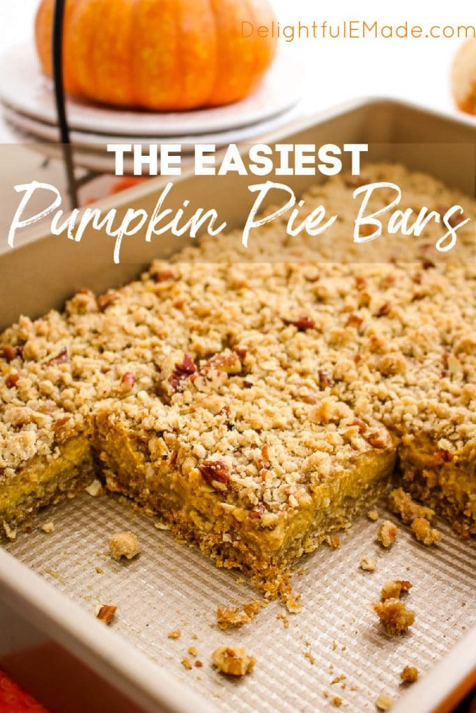 Pumpkin Pie Bars in a pan, sliced into squares, three bars missing.