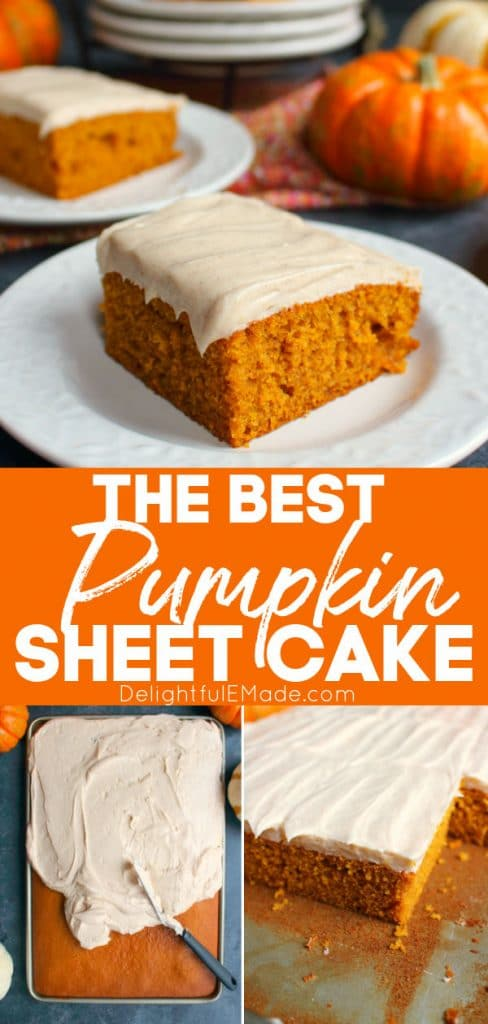 Pumpkin sheet cake on white plates, cut into squares and topped with cinnamon cream cheese frosting.