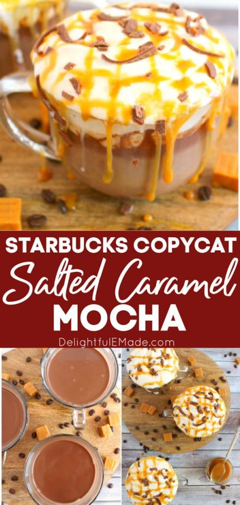 Glass of starbucks salted caramel mocha, topped with whipped cream, chocolate curls and salted caramel sauce.