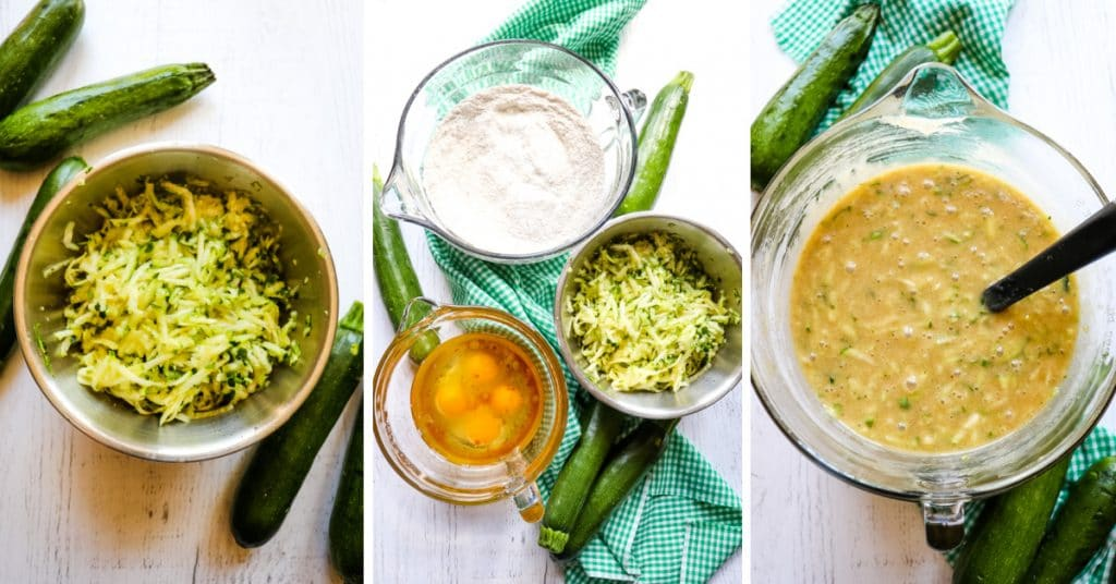three photo collage with shredded zucchini, cake ingredients and zucchini cake batter in a bowl.