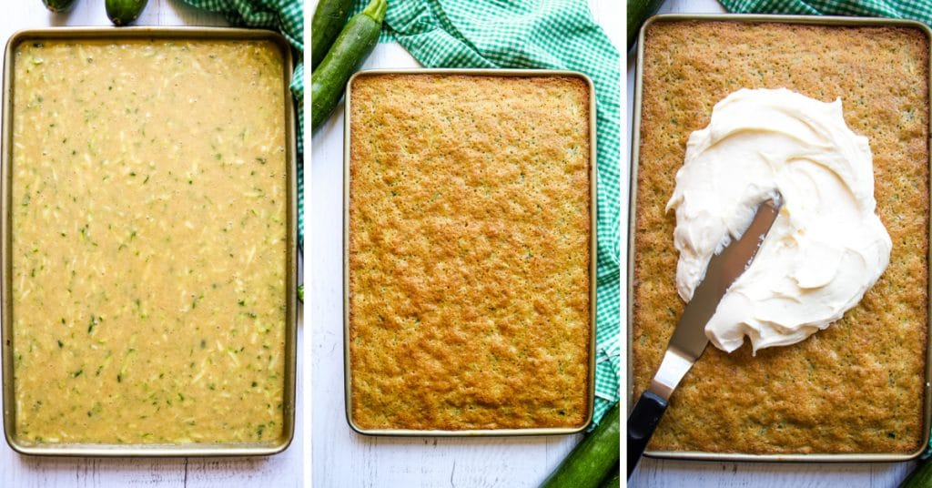 Zucchini cake batter in sheet pan, baked zucchini cake, and cake being frosted with cream cheese frosting.