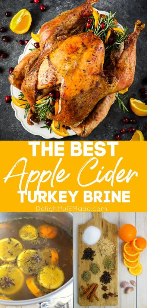 Apple cider turkey brine recipe, with roasted turkey and brine ingredients.