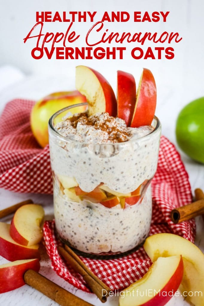 Healthy Apple Cinnamon Overnight Oats in clear glass with apple slices.