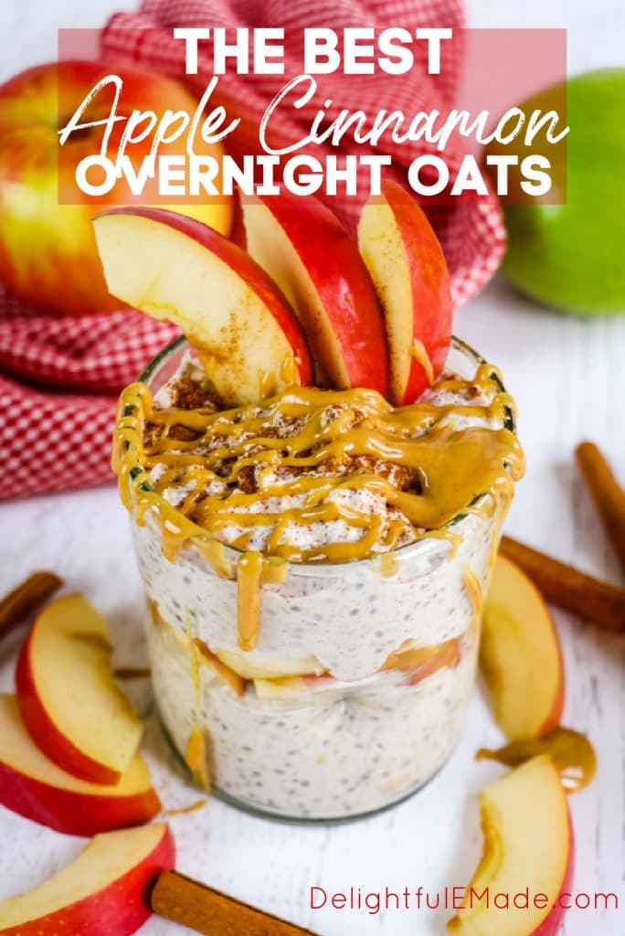 Jar of apple cinnamon overnight oats topped with peanut butter and apple slices.