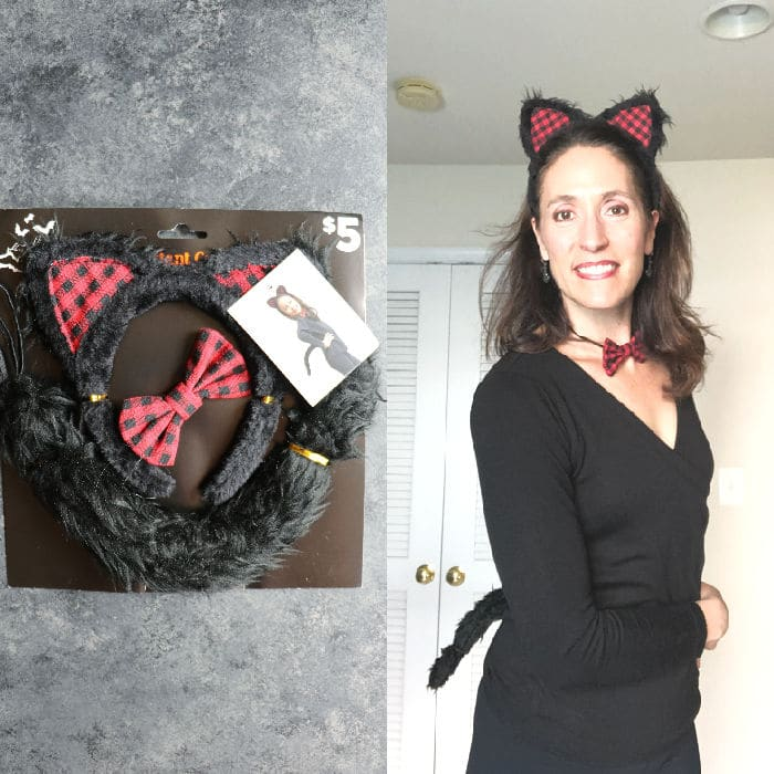 Black cat women's costume with supplies from Dollar General.
