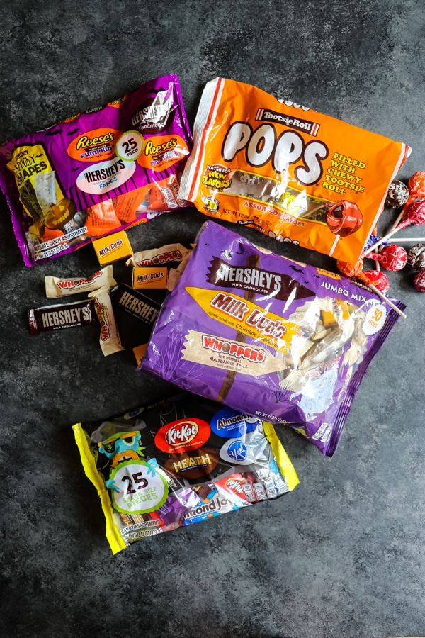 Bags of assorted Halloween candy from Dollar General