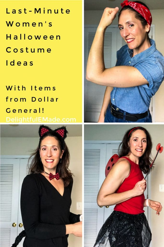 Last-minute women's halloween costume ideas with supplies from Dollar General.