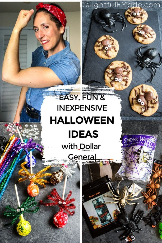 Photo collage of Dollar General Halloween ideas.