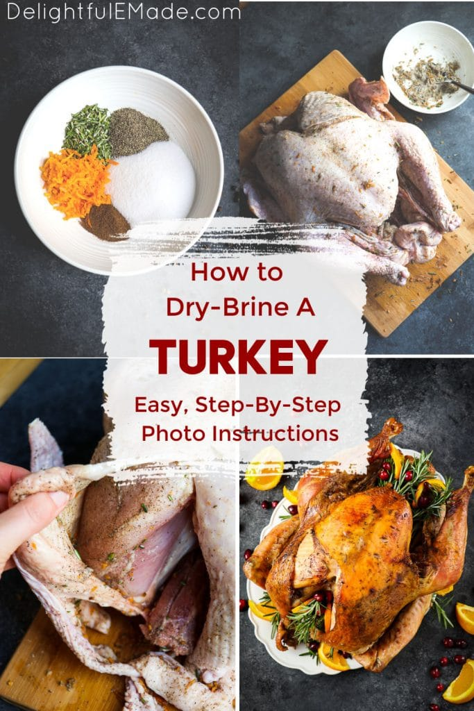 Steps for how to dry brine a turkey.