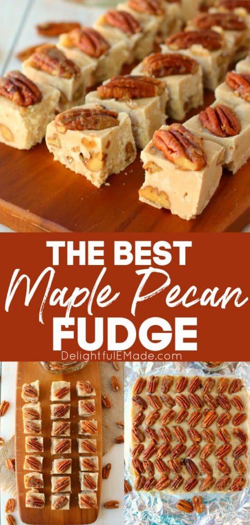Maple pecan fudge recipe cut into squares.