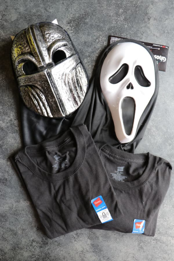 Halloween masks and t-shirts from Dollar General.