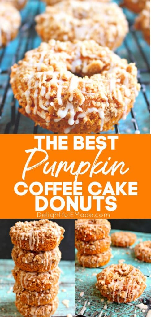 Pumpkin coffee cake donuts, glazed and stacked on a cooling rack.