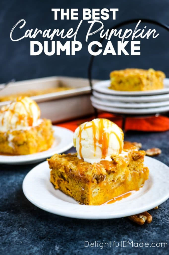 Pumpkin Dump Cake Recipe topped with ice cream and caramel.